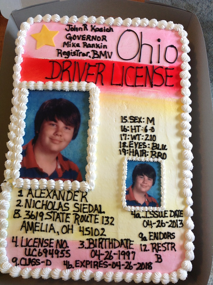 driver license cakes