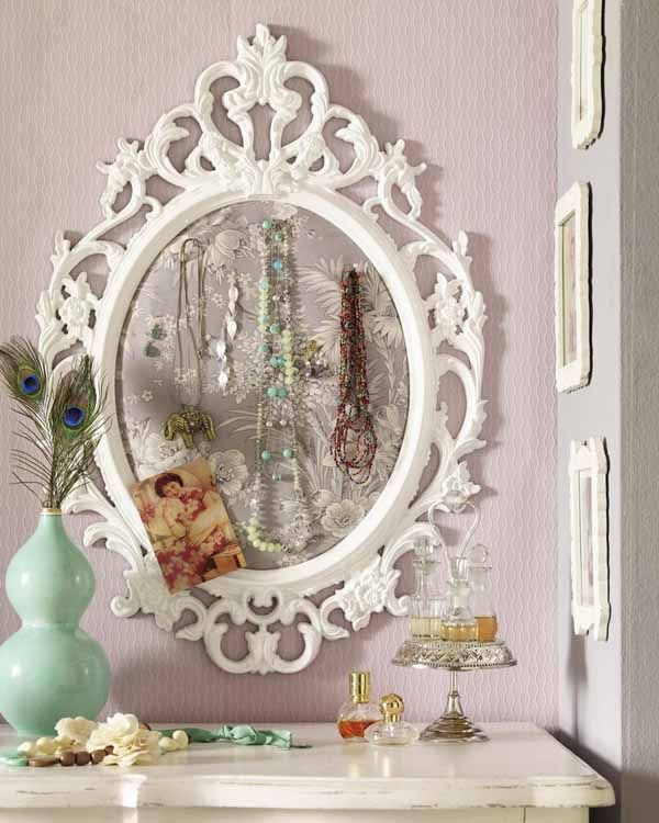 Pin by linda harris tesdall on jewelry organizers for Diy mirror frame ideas