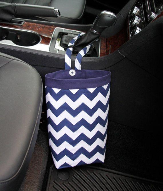 Trash Bag CHEVRON NAVY BLUE, Riley Blake, Women, Men, Car Litter Bag ...