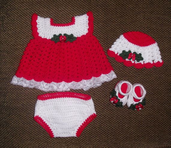Free Crochet Pattern For Christmas Dress : Baby Girl Crochet Lacey Christmas Diaper Dress Set - Hat ...