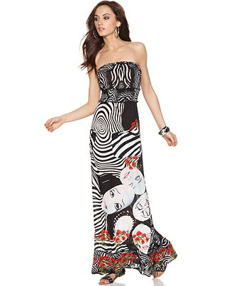Desigual Dress, Strapless Printed Maxi Go for the bold in Desigual's ...