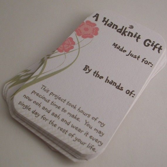 Knitting Gifts : 25 Knitting Gift Tags - Selfish