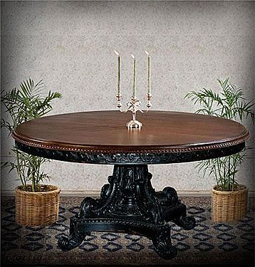 72 Hand Carved Mahogany Round Dining Table Black Distressed