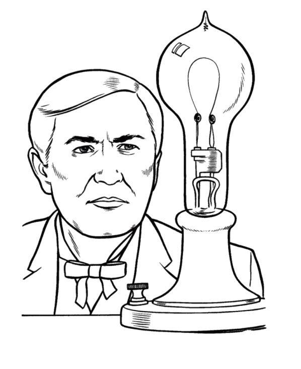 Thomas edison tried his invention coloring pages