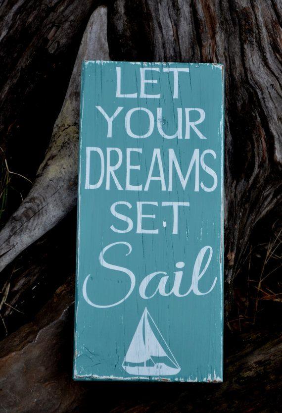 beach art beach decor sailing nautical nursery sign dreams