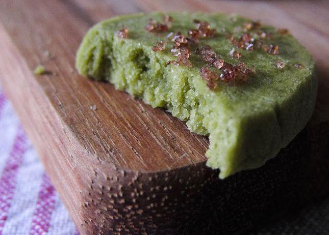 Matcha Green Tea Shortbread with Raspberry Sugar