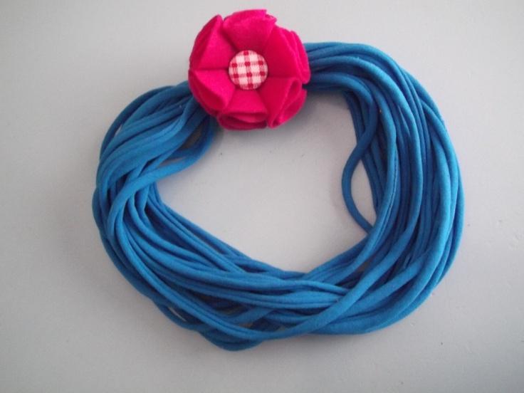 shirt Necklace with Raspberry Felt Flower by Kaleidoscope Creations