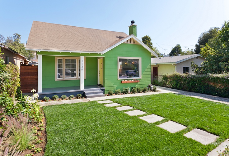 Bright exterior home color...Green!  Impact exteriors.  Pinterest