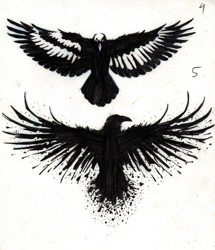 Flying crow tattoos