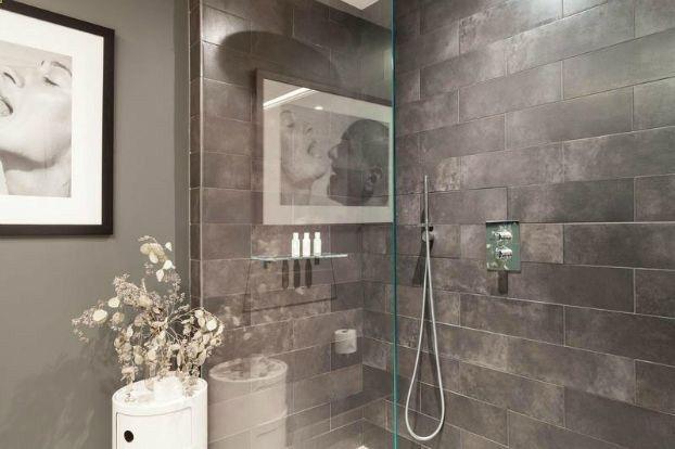 Simple Brown Marble Bathroom Contemporarybathroom