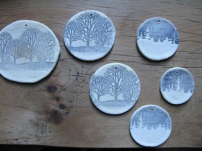 salt dough stamped ornaments.