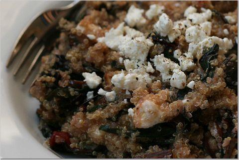 Swiss chard, mushroom, feta and quinoa salad