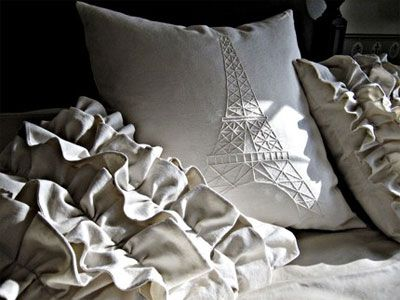 Paris-inspired pillow: love the ruffles and all the grey stuff