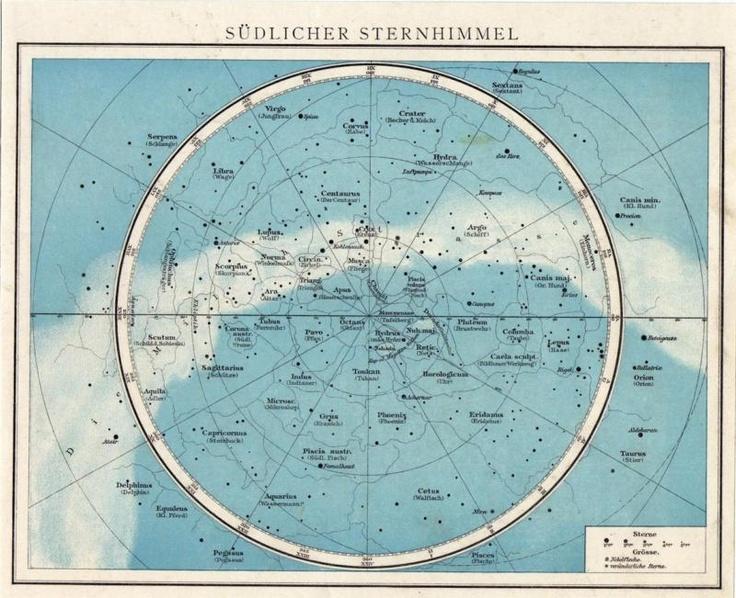 Mapa astronómico. Constelaciones del Hemisferio sur.