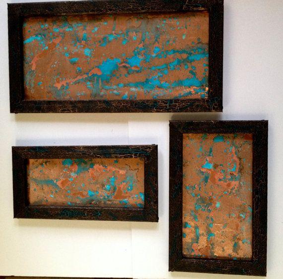 Copper Wall Art Blue Patina Splatter 3 Piece Set Black Crackle