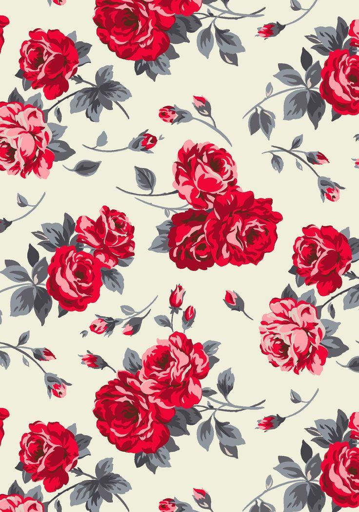 Red floral vintage background