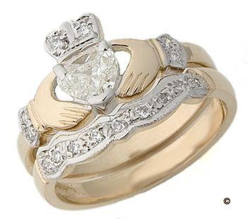 Diamond Claddagh Engagement Wedding Ring Set