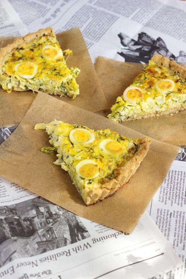 Green Veggie and Quail Eggs Tart by Eat Me Blog