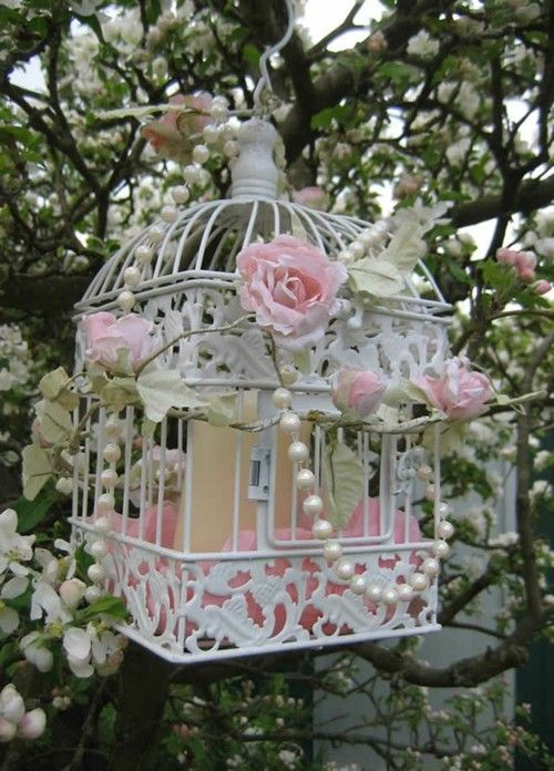 Add flowers and pearls to my suculant birdhouse? A hanginng shabby chic birdgage, perfect for that special garden! ♥♥♥