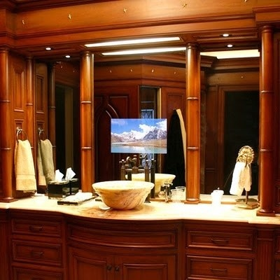 Tv in mirror bathroom ideas pinterest for Tv in bathroom ideas
