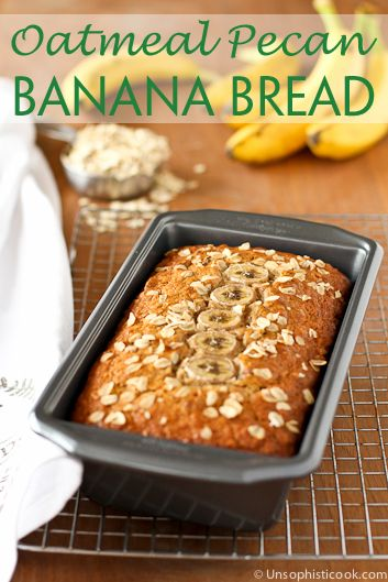 Oatmeal Pecan Banana Bread -- This delicious banana bread gets an additional boost of fiber from oatmeal and toasted pecans! #YayOats