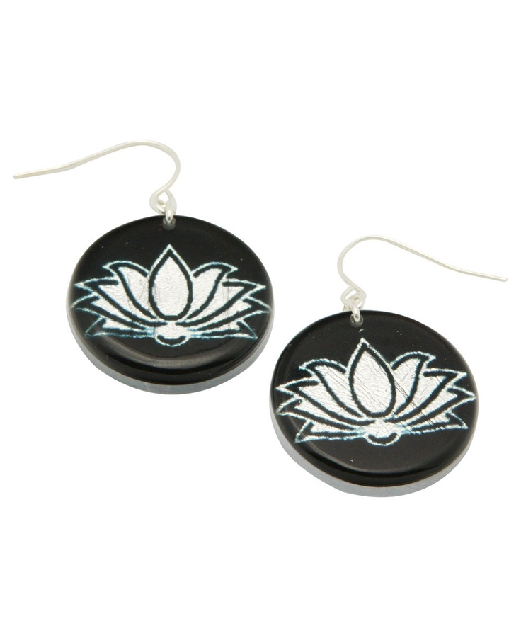Lotus Buddhist Symbol Laser Etched Black And Silver