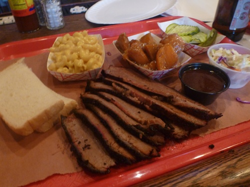 Beef Brisket, Mac n'Cheese and Candied Yams from Mable's Smoke House