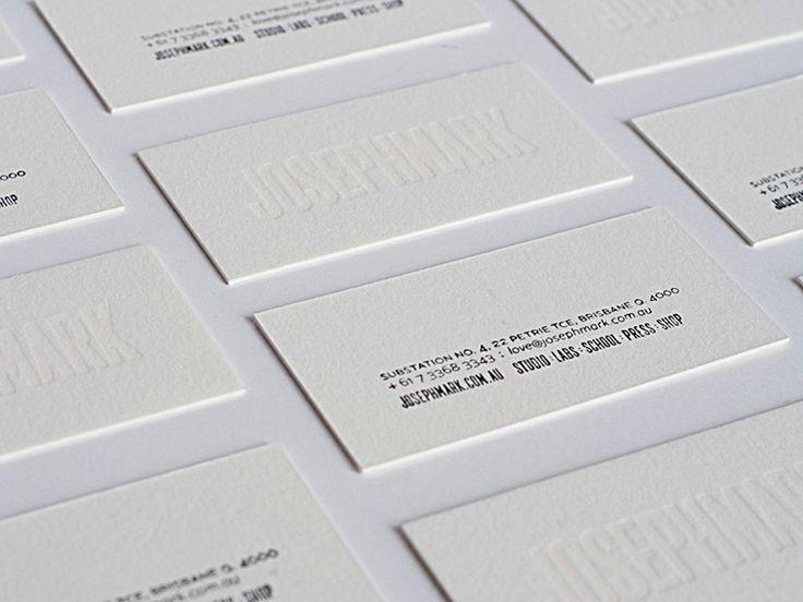 White on white letterpress business cards