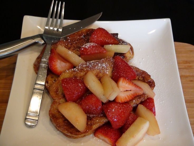 Cinnamon Challah French Toast with Caramelized Strawberries and Pears ...