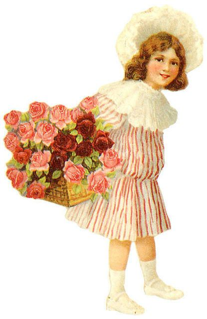 little girl with basket of roses