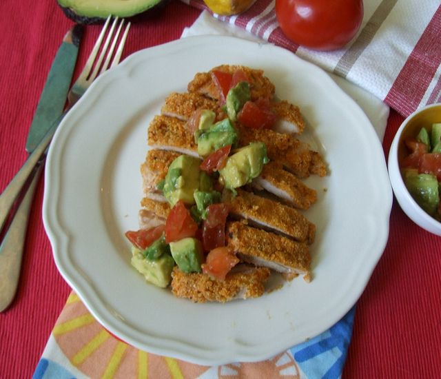 cornmeal or matzoh crusted chicken thighs with avocado tomato relish