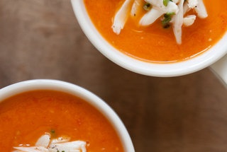 Roasted Red Pepper and Heirloom Tomato Soup with Crab