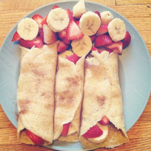 Breakfast! Gluten free strawberry banana crepes with lite syrup & a dash of cinnamon!