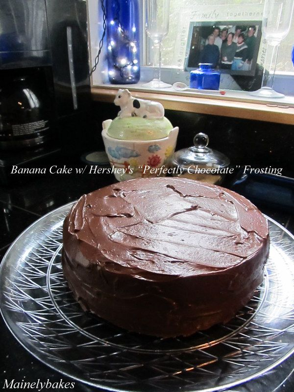 """Light Banana cake with Hershey's """"Perfectly Chocolate"""" Frosting"""