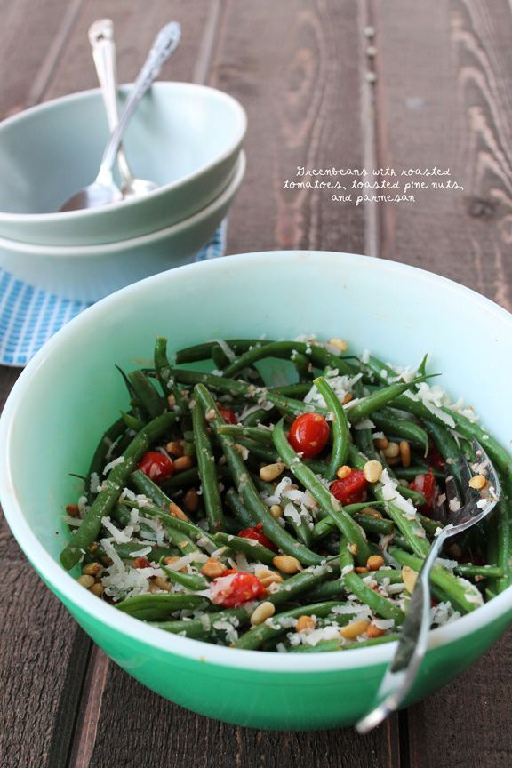 Green Beans with Roasted Tomatoes, Toasted Pine Nuts, and Parmesan