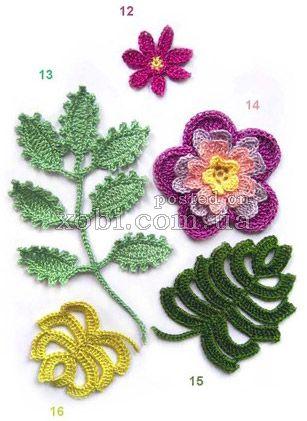 вязаные цветы - 000011