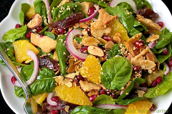 Baby Spinach Salad w/ Dates, Almonds, Oranges & Pomegranate from ...