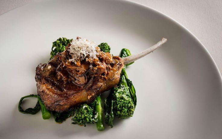 Grilled Lamb Chops, Mushroom Bolognese, Broccoli Rabe and Pecorino