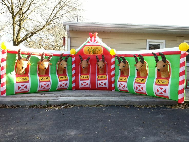 "... Airblown ""North Pole Reindeer Stable"" Inflatable Holiday Yard Decor"
