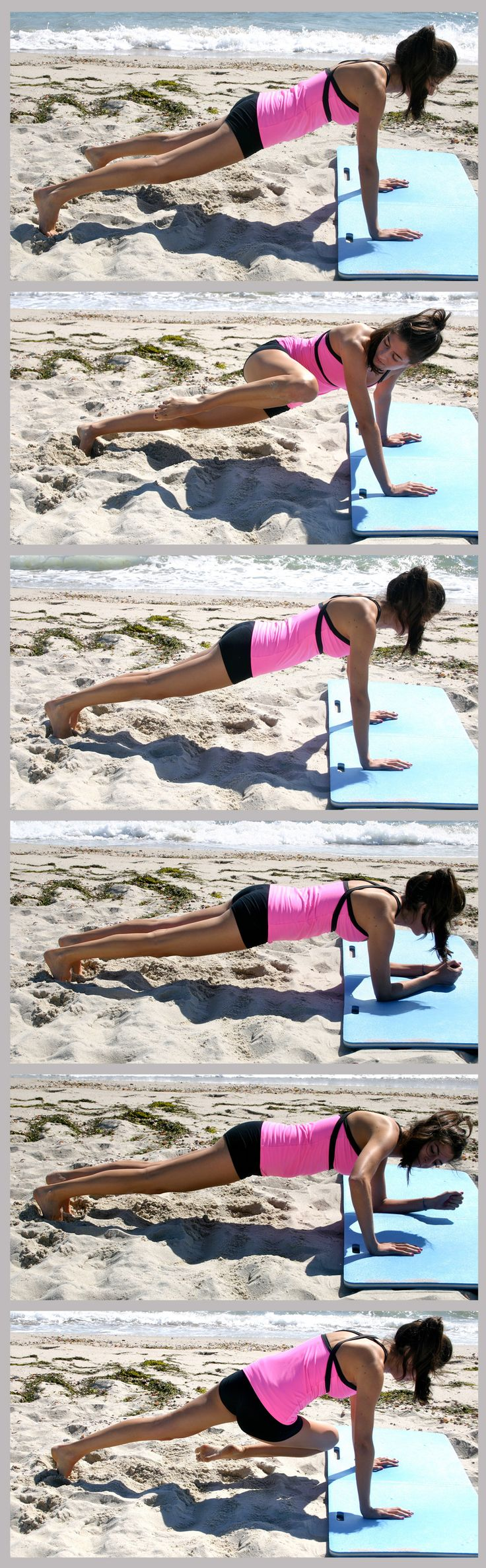Plank Workout - Do each of the 6 moves for 20 seconds. Repeat entire 2-minute circuit 3 times, taking a 30-second break in between each round
