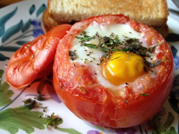 Romaine Pesto And Egg-stuffed Tomatoes Recipe — Dishmaps