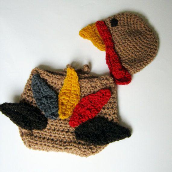 Crochet Baby Hat Pattern Super Bulky Yarn : PDF PATTERN CROCHET November Baby Turkey diaper cover and ...