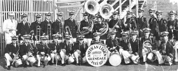 The American Legion, Post 127 marching band of Glendale, 1931. Post 127 was the first of the veterans groups to be formed in Glendale in 1919. The Post's marching band won many state and national honors. Glendale Central Public Library. San Fernando Valley History Digital Library.