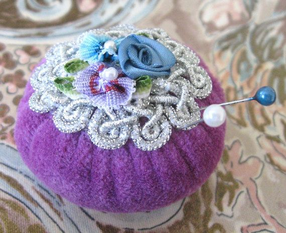 Pincushion Pin Keeper MINI Pinnie 2 inch LILAC by CharlotteStyle, $8.50