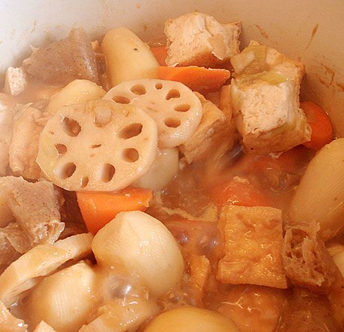 Root vegetables and tofu stewed in miso. | Real food | Pinterest
