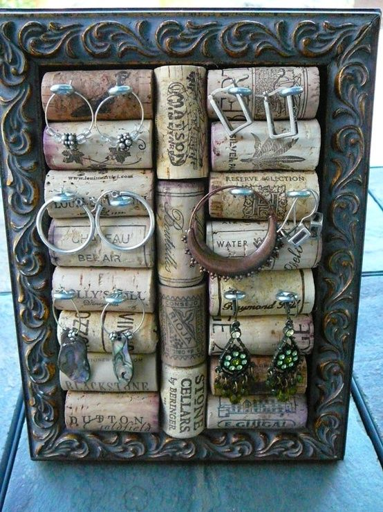 vintage display ideas ...wine cork earring display!