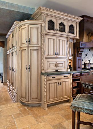 Antiqued ivory cabinets for the home pinterest for Antique ivory kitchen cabinets