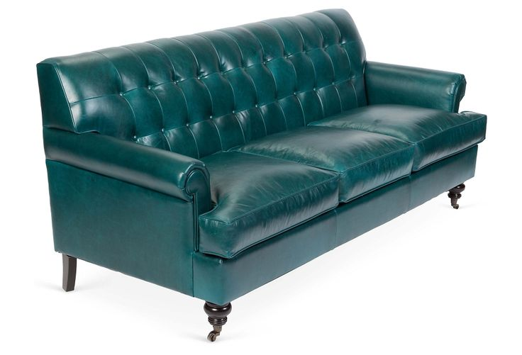 Whitby 89 tufted leather sofa teal for Teal leather couch