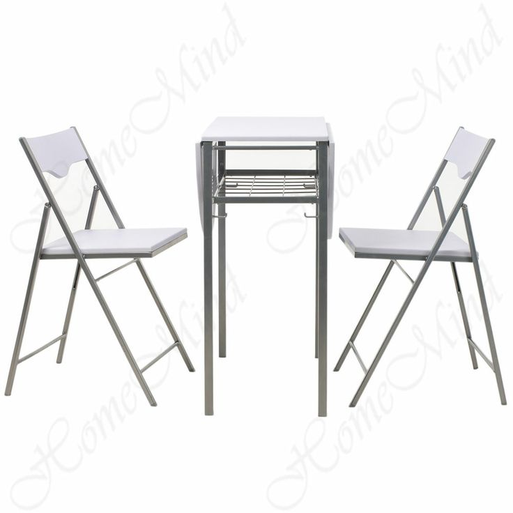 Narrow Twist Double Drop Leaf Table And 2 Folding Chairs