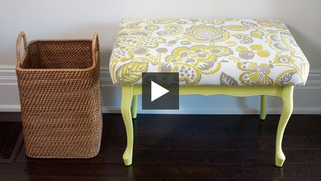 Style expert Reiko Caron converts a curbside find into a functional foyer seat with bright chartreuse paint and a professionally reupholstered top | House & Home Online TV